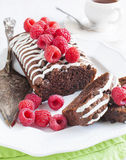 Triple chocolate loaf cake with raspberry Royalty Free Stock Images