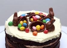 Triple Chocolate Nutella Easter Layer Cake Stock Photos