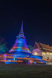 Triple Circumambulation around old pagoda of Trapangtong Temple in Sukothai Thailand Stock Photos