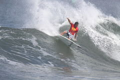 Triple Crown of Surfing. Australia's Dean Morrison compete's in the 2009 Reef Hawaiian Pro at Haleiwa Beach, the first event in the Triple Crown of Surfing Royalty Free Stock Photos