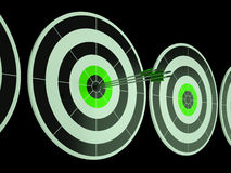 Triple Dart Shows Focused Successful Aim Stock Photos