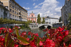 triple de Ljubljana de passerelle Images libres de droits