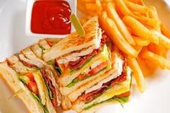 Triple decker club sandwich stock images