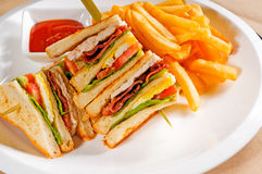 Triple decker club sandwich Stock Photos