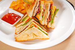 Triple decker club sandwich Stock Photo