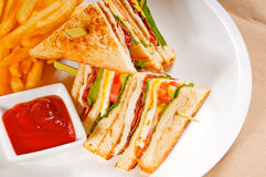 Triple decker club sandwich Royalty Free Stock Images