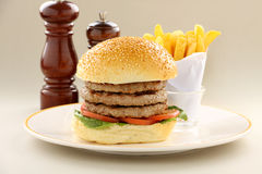 Triple Decker Hamburger Royalty Free Stock Photos