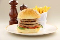 Triple Decker Hamburger Royalty Free Stock Photos