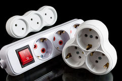 Triple electrical plug Royalty Free Stock Photo