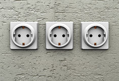 Triple electrical socket Stock Images
