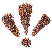 Triple exclamation mark from coffee beans. On white isolation background Royalty Free Stock Images