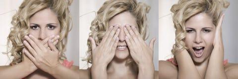 Triple expression beauty portrait Stock Photos