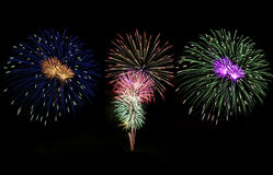 Triple Fireworks Stock Image