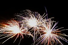 Triple fireworks Royalty Free Stock Photo