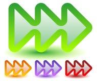 Triple, 3 flechas en más colores Localice, delantero rápido, firmeza Fotos de archivo
