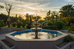 Triple fountains in a park in the city of Campofelice di Rossari Stock Image