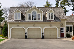 Triple Garage. Large triple garage with dormers in the roof Stock Images