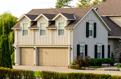 Triple garage with an apartment upstairs Stock Photo