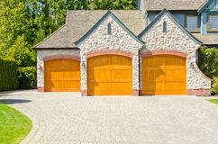 Triple garage door. Royalty Free Stock Photo