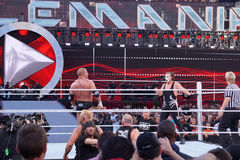 Triple H holds sledgehammer and Sting holds bat in ring during m Stock Photography