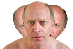 Triple headed man royalty free stock photo