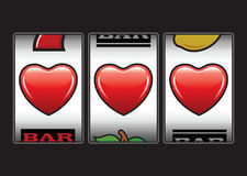 Triple hearts slots machine stock illustration