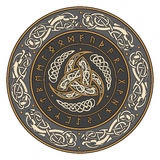 Triple Horn of Odin decorated with Scandinavian ornaments and runes Stock Images