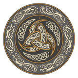 Triple Horn of Odin decorated with Scandinavian ornaments Stock Photo