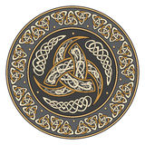 Triple Horn of Odin decorated with Scandinavian ornaments Royalty Free Stock Images