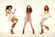 Triple image of fashion model in different poses royalty free stock images