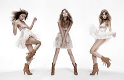 Triple image of fashion model in different poses Royalty Free Stock Image