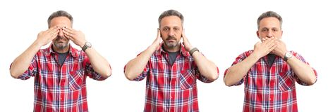 Triple image of man as secret keeping concept. Triple image of serious man covering eyes ears and mouth as secret keeping concept isolated on white background royalty free stock photo