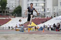 Triple jump athlete - Marian Oprea Royalty Free Stock Images