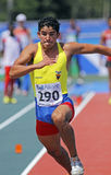 Triple jump men equador. MONCTON, CANADA - JULY 24: Jose Adrian Sornoza of Equador performs the triple jump at the 2010 IAAF World Junior Championships on July Stock Photography