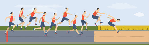Triple jump moves. Triple jump moves illustration. Man jumps in uniform stock illustration
