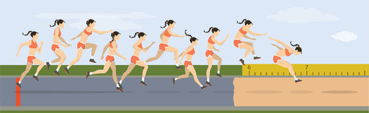 Triple jump moves. Triple jump moves illustration. Woman jumps in uniform stock illustration