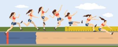 Triple jump moves. vector illustration