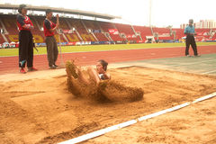 Triple Jump in Thailand Open Athletic Championship 2013. Royalty Free Stock Images
