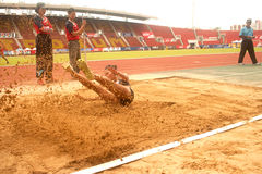 Triple Jump in Thailand Open Athletic Championship 2013. Stock Image