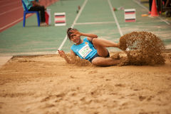 Triple Jump in Thailand Open Athletic Championship 2013. Royalty Free Stock Image