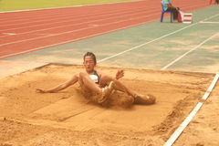 Triple Jump in Thailand Open Athletic Championship 2013. Royalty Free Stock Photos