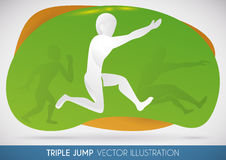 Triple Jumper Athlete Doing his Best Jump, Vector Illustration Royalty Free Stock Images