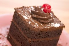 Triple Layer Chocolate Cake Stock Photo