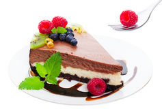 Triple Layer Chocolate Cheesecake Royalty Free Stock Photo