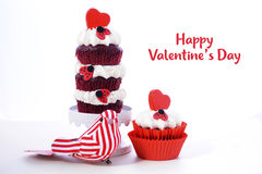 Triple layer red and white Valentine cupcake Stock Images