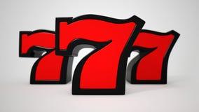 Triple Lucky sevens. 3D illustration Stock Image