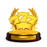 Triple Lucky sevens trophy. 3D illustration Royalty Free Stock Photo