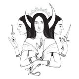 Triple lunar Goddess Hecate ancient Greek mythology hand drawn black and white isolated vector illustration. Blackwork, flash. Tattoo or print design stock illustration