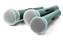 Triple microphone Stock Images