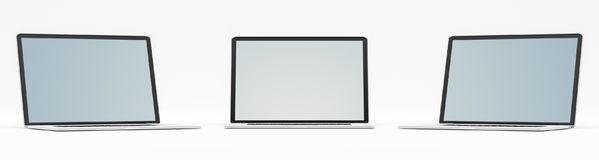 Triple modern digital silver and black laptop 3D rendering Royalty Free Stock Photos